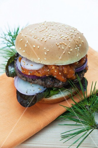 Venison burger in a bun with apricot chutney