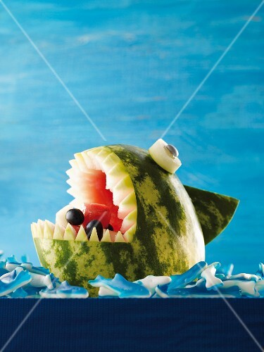Fruit salad in a melon shark