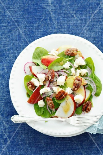 Spinach salad with apple, onions, goat's cheese and candied pecans