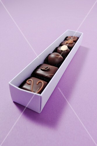 Assorted chocolates in a box