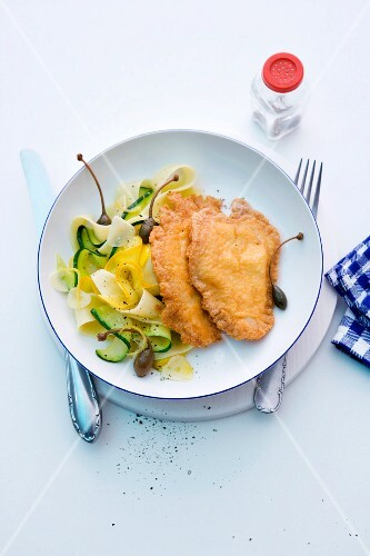 Turkey schnitzel with ribbon pasta and courgette