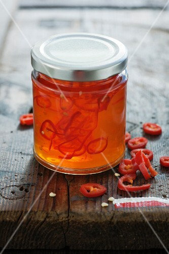 Sweet chilli jam in a screw-top jar