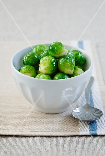 Boiled Brussels sprouts in a bowl