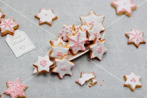 Marzipan biscuits with royal icing for Christmas