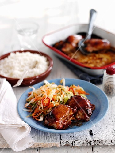 Grilled chicken legs with salad and rice (Thailand)