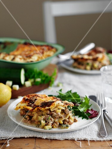 Turkey lasagne with spinach and courgette