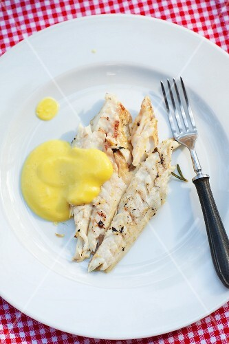 Grilled cod fillets with cheese sauce