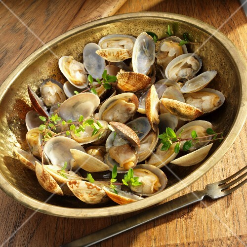Bowl of Little Neck Clams with Fresh Herbs