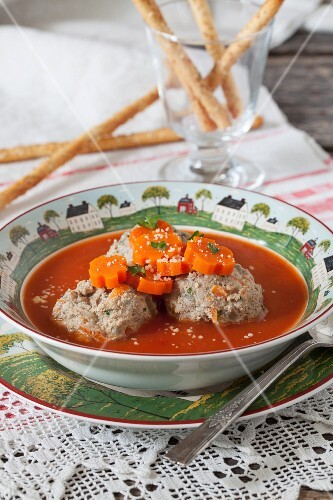 Meatballs in Tomato Soup with Carrots
