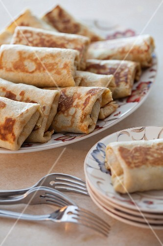 A Platter of Stuffed Crepes