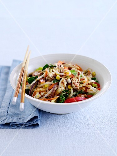 Chicken Stir Fry with Vegetables and Sprouts