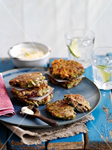 Feta Beetroot Courgette Fritters