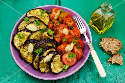 Vegetable platter with tomatoes and chargrilled aubergines