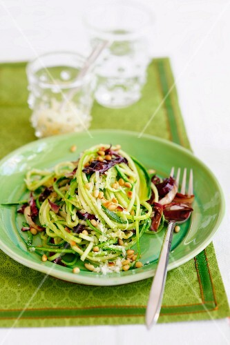 Courgette linguine with pine nuts