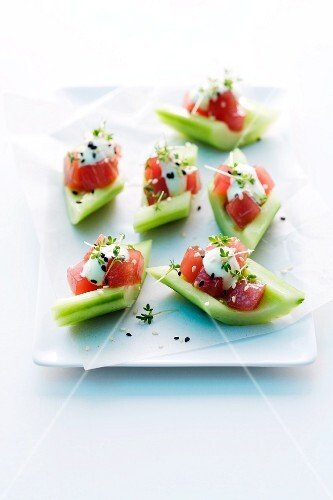 Cucumber boats with tuna and garden cress
