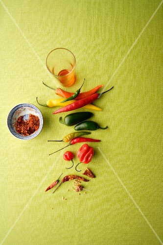 An arrangement of chillis
