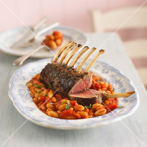 Rack of lamb on a bean and tomato medley