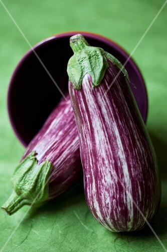 Two striped aubergines