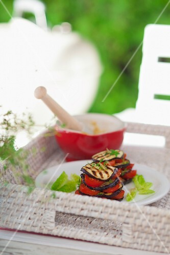 Mini towers of chargrilled tomatoes and aubergine