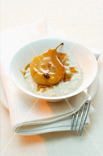 Vanilla risotto with pears and pear caramel