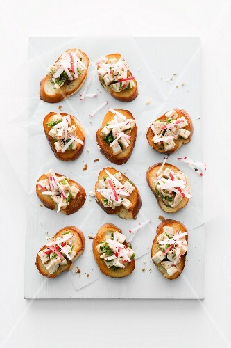 White sausage crostini