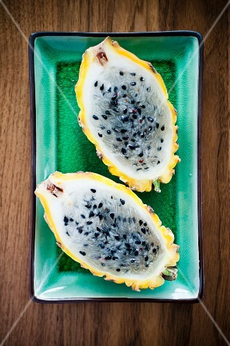 Studio shot of halved pitahaya