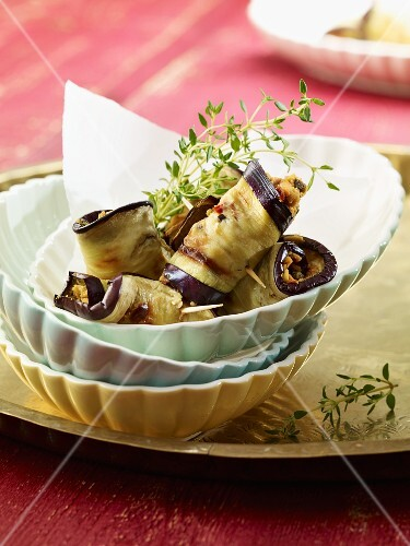 Rolled slices of aubergine with thyme
