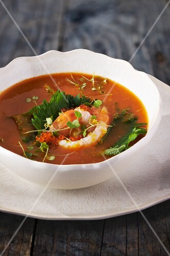 Fish soup with prawns