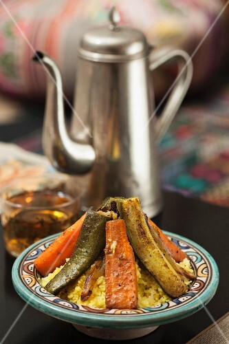 Vegetable tagine with couscous and tea (Morocco)