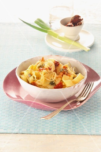 Ribbon pasta with sauerkraut and bacon