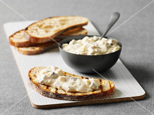Toasted bread with herring spread (Sweden)