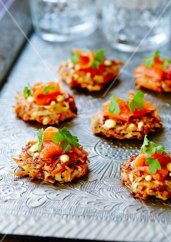 Carrot and sweet potato fritters with smoked salmon