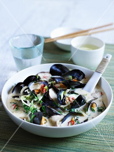 Mussel soup with mushrooms, pak choi, chilli and coriander