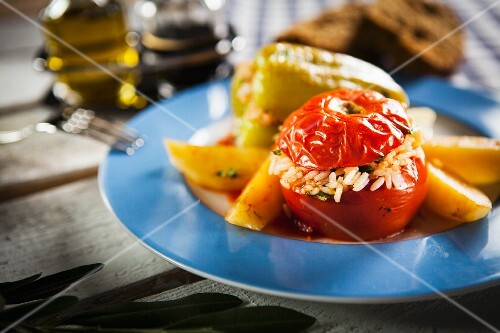 Gemista (tomatoes and peppers stuffed with rice, Greece)