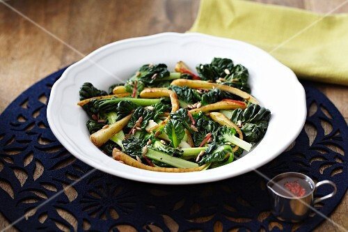 Chard salad with parsnips and pine nuts