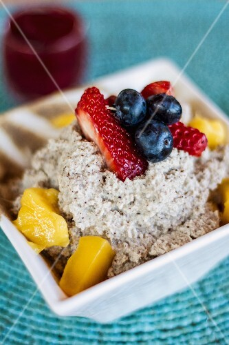 Vegan chia seed pudding with berries
