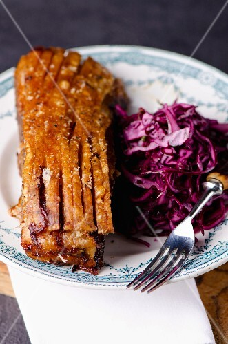 Pork belly with purple coleslaw