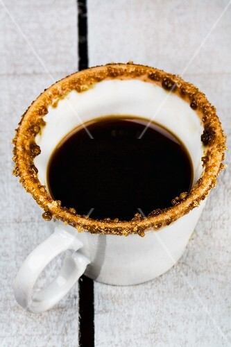 An espresso with a sugared edge