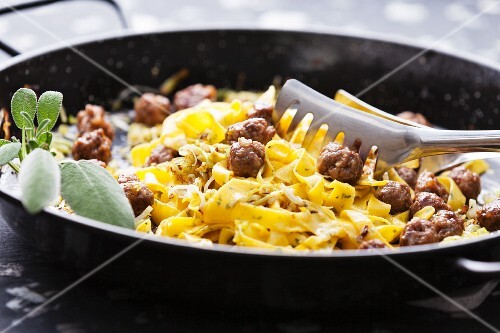 Tagliatelle with meatballs and sage