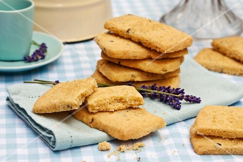 Lavender shortbread biscuits on a light blue napkin
