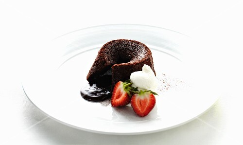 Molton chocolate pudding with cream