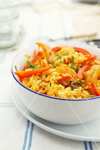 Chilli rice with prawns