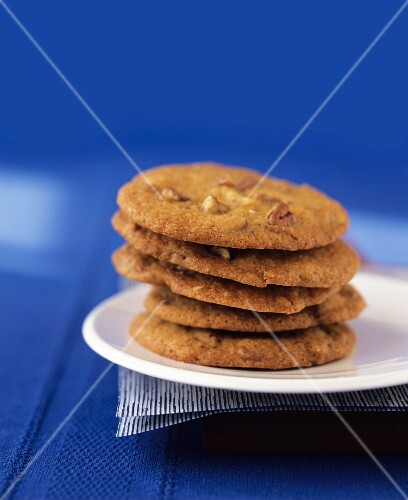 A stack of pecan nut cookies