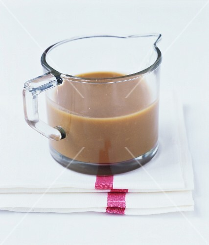 Gravy in a glass jug