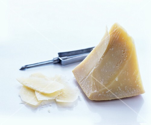 Piece of Parmesan and Parmesan shavings