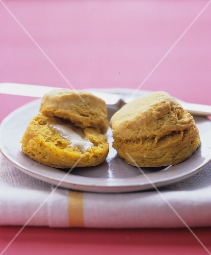 Sweet potato scones with butter