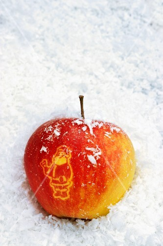 Father Christmas carved into an apple
