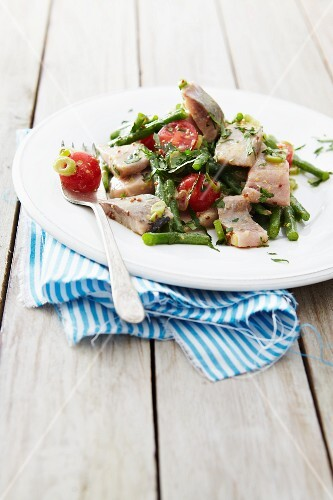 Bean salad with soused herring and cherry tomatoes