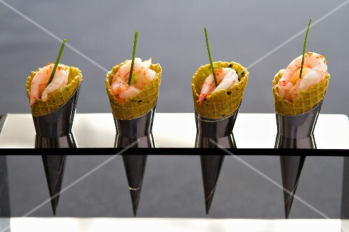 Prawns in ice cream cones