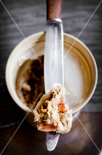 Pork rillette in a bowl with a knife